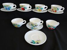 Westmoreland USA Beaded Edge 7 Cups 6 Saucers Various Fruit Designs