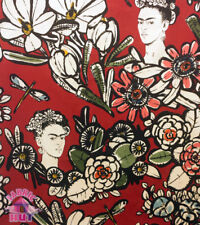 Alexander Henry Cactus Flower Frida Kahlo Red Cotton Fabric
