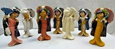 VINTAGE JAPANESE DOLLS COLOURFUL CERAMIC PORCELAIN FIGURE COLLECTIBLES 7 Pc  #44