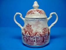"""J.G. Meakin ROMANTIC ENGLAND- Red """"Sandford Orcas Manor House"""" SUGAR BOWL & LID"""