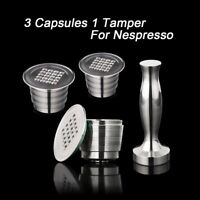 4PC/Set Nespresso Stainless Steel Refillable Coffee Capsule Coffee Tamper