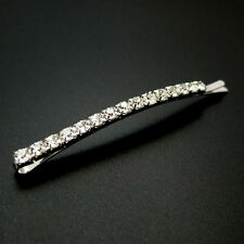 "Jumbo 3.5"" Large Arched Silver Rhinestone Crystal Hair Clip Bobby Pin Slide"