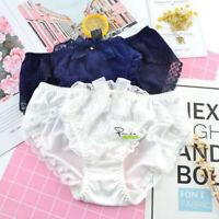 Girls Ladies Lolita Silky Satin Lace Briefs Knickers Panties Women Underwear R55