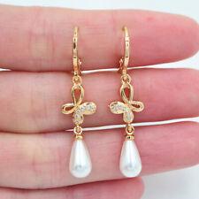 18K Yellow Gold Filled Women Clear Topaz White Teardrop Pearl Butterfly Earrings