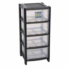 Wham 4 Drawer Storage Unit Plastic Tower Deep Draw Graphite Garage Home Office