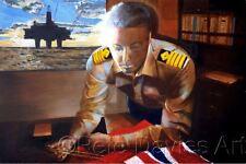 "PETE DAVIES ORIGINAL ""Jamie Wilson Captain North Sea"" Oil Rig platform PAINTING"