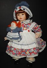 Molly with Rag Doll Collectible Memories Porcelain Sitting Doll Button Dress