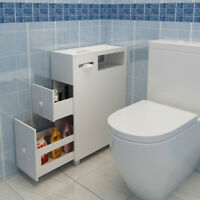 Bathroom Wooden Cabinet Toilet Paper Roll Holder Slimline Storage Organiser