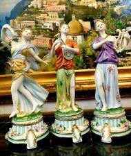 Magnificent Estate Rare Set of 3 Dresden Collection Porcelain Figurines - Signed