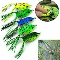 1/5x Newly Fishing Lures Topwater Frog Crankbait Tackle Bass Soft Swimbait Bait