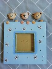 BLUE PURPLE TEDDY BUTTERFLY GLITTER PICTURE FRAME 5.5in/14cm SQUARE FREESTANDING
