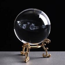 Boule de cristal gravée système solaire ésotérisme voyance tarot cartomancie