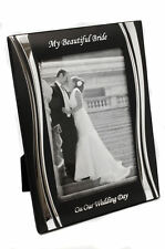 """Personalised Engraved 4"""" x 6"""" Black and Silver 'On Our Wedding Day' Photo Frame"""