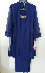 R&M Richards Dressy Royal Navy Blue 2 Piece Stretch Beaded Pant Suit Set 20W
