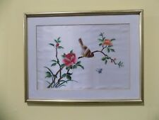 Vintage Bird on the tree Butterfly Flowers Hand Sewn Silk Pictures golden Framed