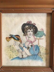 Antique Hand Colored Print Engraving? Portrait Miniature Woman With Birds 1830s