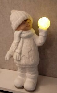 Boy with Light Up LED Snow Ball White Figurine Christmas Ornament Decoration