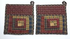 Set of 2 Country Primitive MILLSBORO Log Cabin Block Quilted Cotton Pot Holders