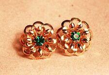 Vintage Art Deco screw back Flower earrings green rhinestone center