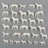 50pcs N Scale UnPainted White Farm Animals Horses 1:150 Model Layout