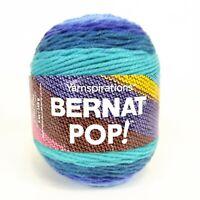 1 Skein Yarnspirations Bernat Pop! Blue Blaze Multicolor Yarn Acrylic 5oz 84004