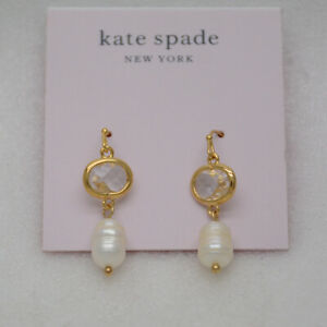 Kate spade jewelry CZ Cut crystals pearl drop dangle gold plated earrings hoops