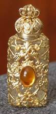 LOVELY VINTAGE GOLD FILIGREE MINIATURE PERFUME W OVAL GOLD AMBER CABOCHON