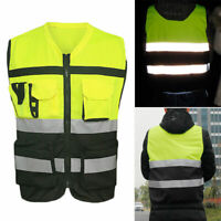 Hi-Vis Safety Vest Reflective Driving Jacket Night Security Waistcoat & Pockets