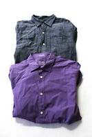 Hartford Womens Basic Button Down Long Sleeve Tops Purple Cotton Size M Lot 2