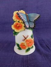 Bisque Porcelain Bell with Flowers and Butterfly