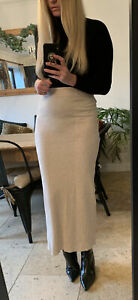 ZARA BEIGE KNITTED HIGH WAISTED LONG MAXI SKIRT WITH BACK SPLIT 10 12 M NEW