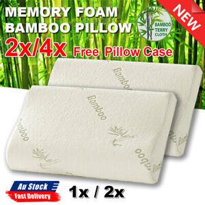 1x/2x Luxury Soft Contour Bamboo Pillow Memory Foam Fabric Fibre Cover Bed AU