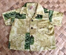 SEARS HAWAIIAN FASHIONS KEIKI KIDS POLYESTER GREEN TAPA HAWAII ALOHA SHIRT 2T