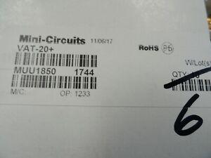 Lot of 6 Mini-Circuits VAT-20+ 20 dB Fixed Attenuator, DC - 6000 MHz, 50Ω