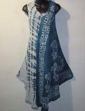 Dress Fits XL 1X 2X 3X Plus Sundress Teal Batik Tunic A Shaped Fringe NWT 7132