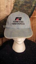 Vintage Tennessee Tn Farm Bureau Embroidered Blue Denim Strapback Hat Cap