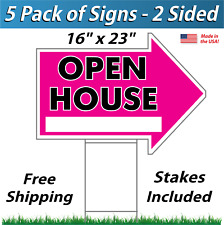 5x - Open House Arrow Shaped Signs & Stakes - Corrugated Plastic (5 Pk) Pink