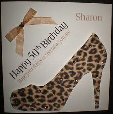 HANDMADE PERSONALISED LEOPARD PRINT SHOE BIRTHDAY CARD 18TH 21ST 30TH 40TH 50TH