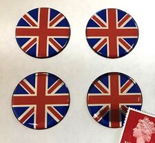 4 x Union Jack Flag Stickers Domed Finish Red, Blue & Chrome 30mm Diameter
