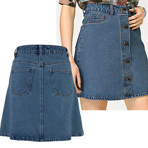 wow mini Jeans ROCK Gr.34 XS SKIRT Jeansrock Blau kurz Retro Look