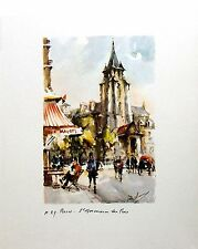 Germain des pres,  Paris, France, Watercolor Print