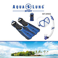 AQUA LUNG SPORT AMIKA SNORKEL SET 3-PIECE inc MASK/SNORKEL/FINS in TRAVEL BAG