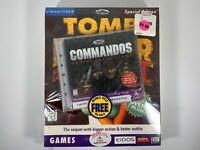 Tomb Raider II Starring Laura Croft BIG BOX PC CD-ROM New Sealed w/ Commandos