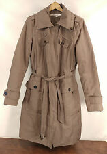 Womens Kenneth Cole New York Taupe Belted Lined Trench Coat Jacket - Size Medium