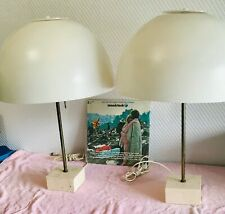 Pair Of Mid Century White Tin Shades Mushroom Table Lamps With Stone Base.
