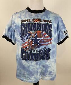 1996 Vintage DALLAS COWBOYS STARTER TEE Custom TieDye Super Bowl XXX NFL Large