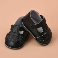Handmade Black Leather Shoes Clothes made For 16 inch Doll 2018 Girl Shoes U6T9