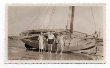 PHOTO ANCIENNE VINTAGE Bateau à voile Voilier Marrée basse Vers 1930