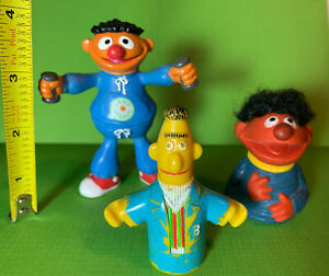 3 Vintage 70s 80s Sesame Street Bert & Ernie Muppets Finger Puppet PVC Figures