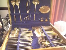 Thai  Bronze Cutlery Set 55 Piece GOOD USED CONDITION IN BOX, FREE-MAILING.